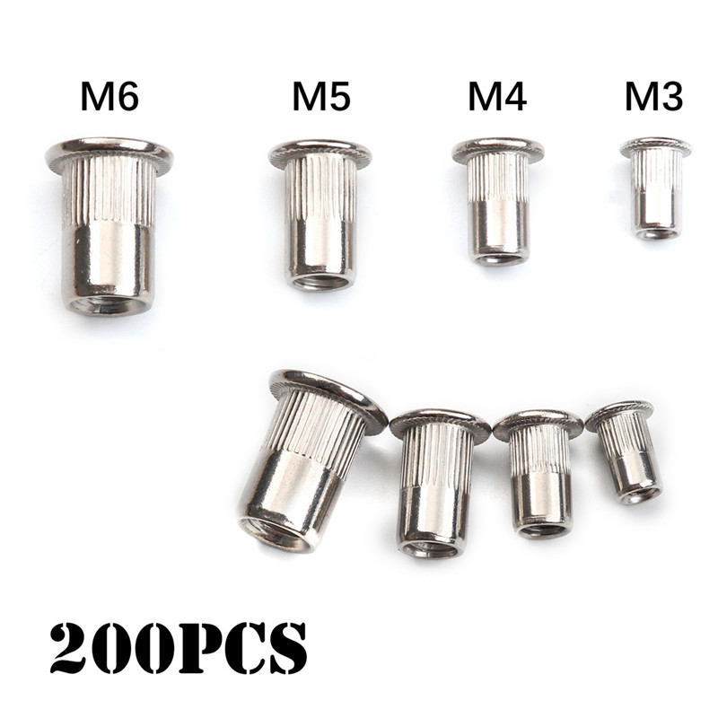 200 50 PCS Stainless Steel Flat Head Rivet Nuts Set M3 M4 M5 M6 Insert Reveting Multi Size Stainless Steel Rivet Nut Set