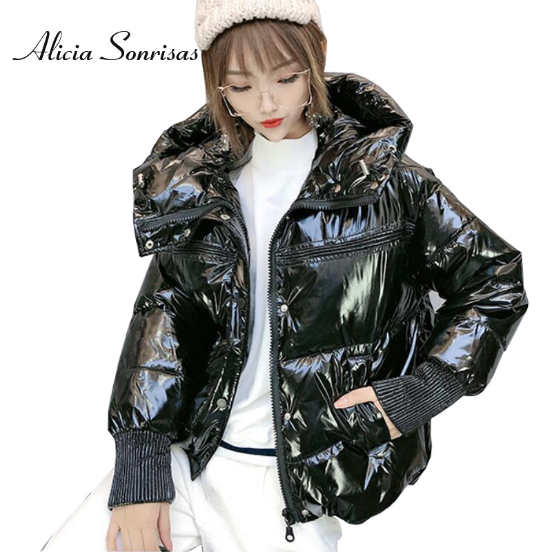 2019 Hooded Glossy Winter Down Cotton Padded Jacket For Women Thick Bright Black Shiny Jacket Yellow Silver Golden Parkas AS810