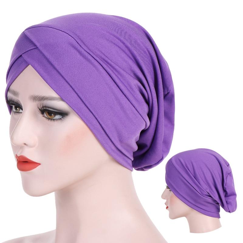 Inner Hijab Caps For Women Soft Elastic Cotton Turban Forehead Cross Indian Hat Arab Wrap Muslim Head Scarf Turbante Bonnet