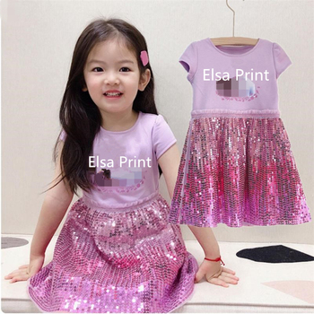 Elsa 2 Baby Girls Kids Princess Summer Sequins Dresses Toddler Cospaly Dress Girl Tutu Teen Birthday Gown Party Clothes Vestidos 2016 summer baby girls sequin dress stars sequins tulle bow toddler tutu princess dress girl kids costumes 1 5years sequin dress