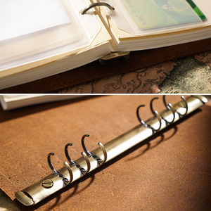 Image 3 - High Quality Rustic Genuine Leather Rings Notebook A5 Spiral Diary Brass Binder Journal Sketchbook Agenda Planner Stationery