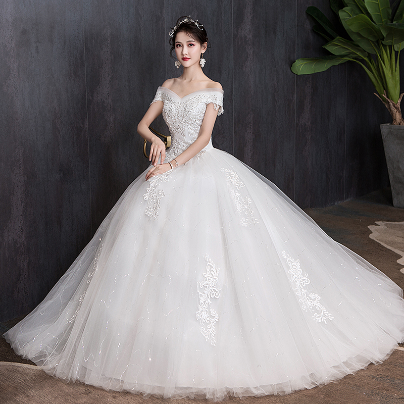 Luxury Wedding Dress New Bridal Dress Ball Gowns Embroiery Dream Simple Satin Wedding Dresses Lace Up Vestido De Noiva