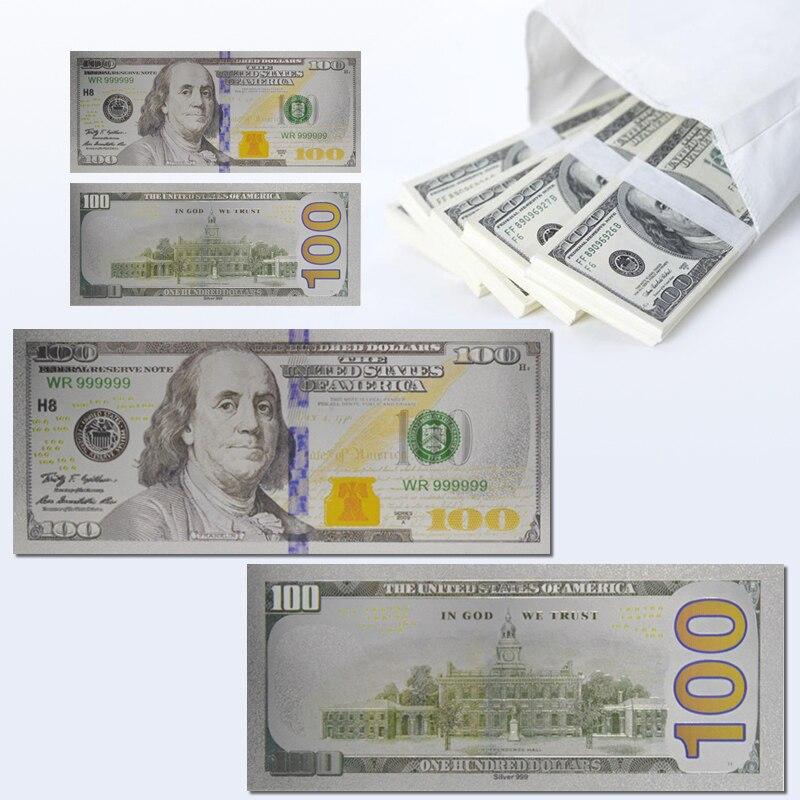 $100 нам Щепка Фольга банкноты покрытые американский, цена в долларах, поддельные деньги USD Билл сувенир валюта World банкнот коллекция