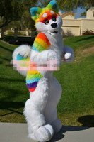 Rainbow Husky Dog Wolf Mascot Costume Fursuit Suits Cosplay Party Game Fancy Dress Outfits Clothing Promotion Halloween Adults