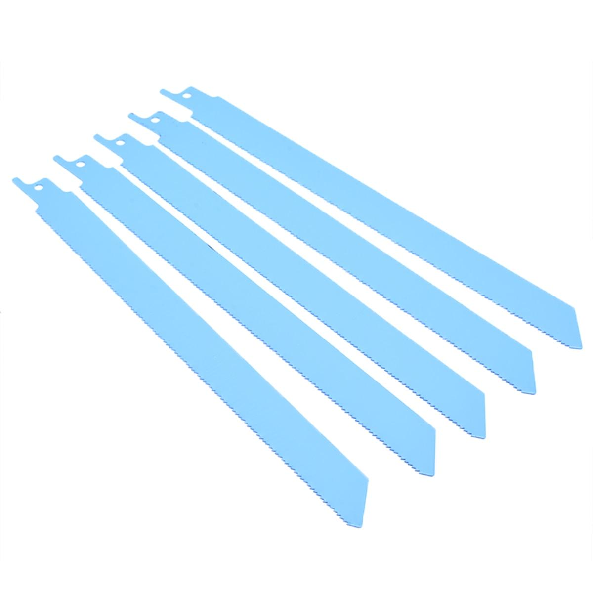 5pcs/set 225mm Metal Recip Saw Blades Sharp Reciprocating Saw Blades Flexible Jig Saw Tools 18tpi DIY Wood Cutting Blades Tool