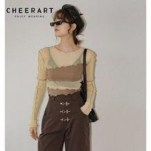 CHEERART — t-shirt manches longues femme, transparent Top court en maille élastique, t-shirt jaune serré