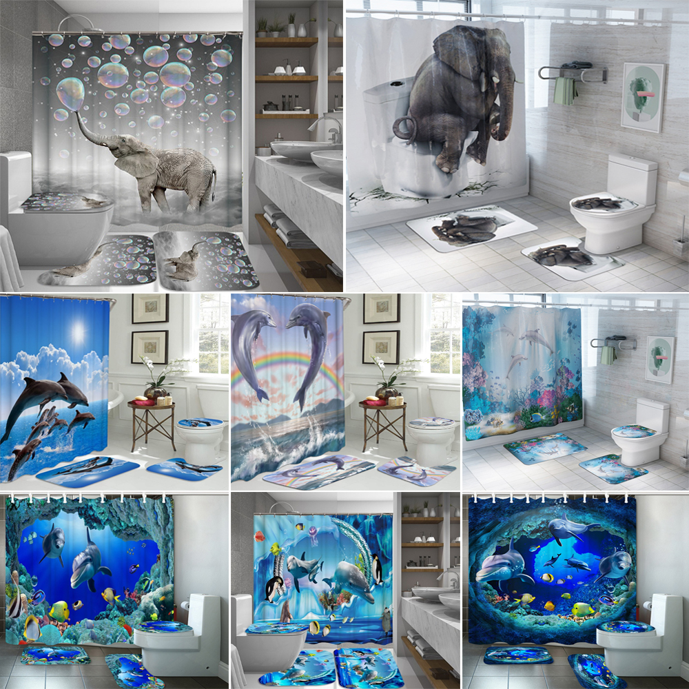 US $6.6 6% OFFElephant Bathroom Sets Ocean Dolphin Deep Sea 6D Shower  Curtain with 6 Hooks Pedestal Rug Lid Toilet Cover Bath Mat SetShower