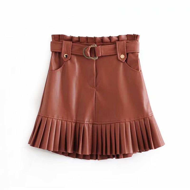 Women Chic PU Leather Pleated Skirt 2019 Ruffles Tie Belt Waist Pocket Skirt Zipper Fly Ladies Elegnt Mini Skirts Jupe Femme