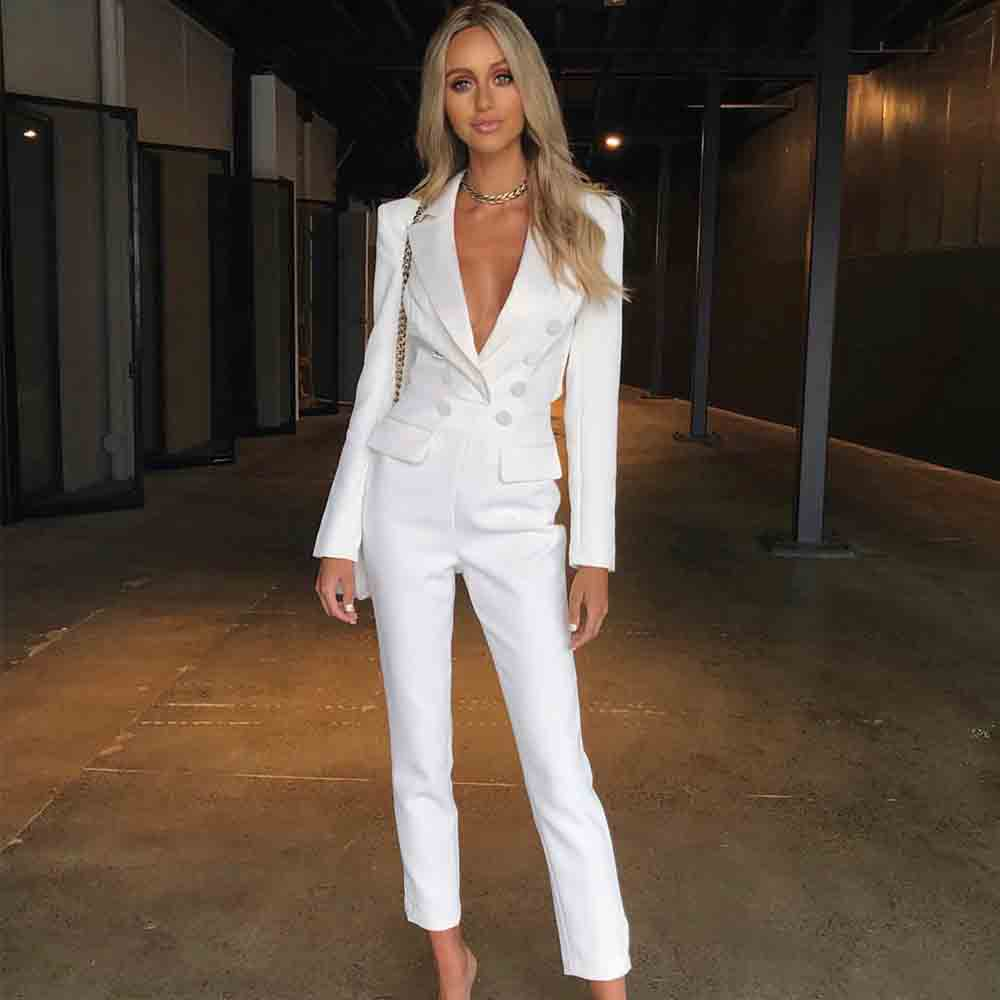 Ocstrade New Bodycon Jumpsuit 2020 Women Sexy V Neck White Bodycon Jumpsuit Boodycon Celebrity Evening Club Party Jumpsuit