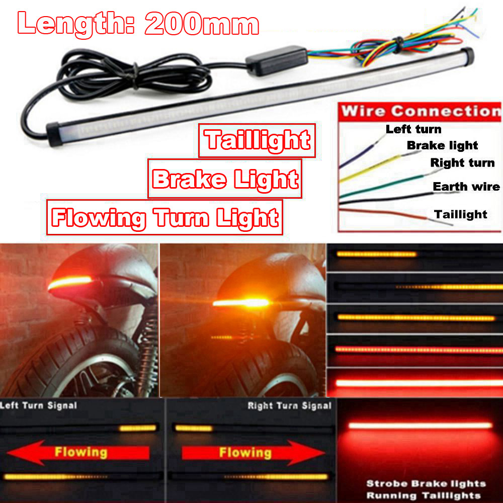 Motorcycle Red Amber Flowing LED Tail Brake Turn Signal Strip Lights 20cm Parts