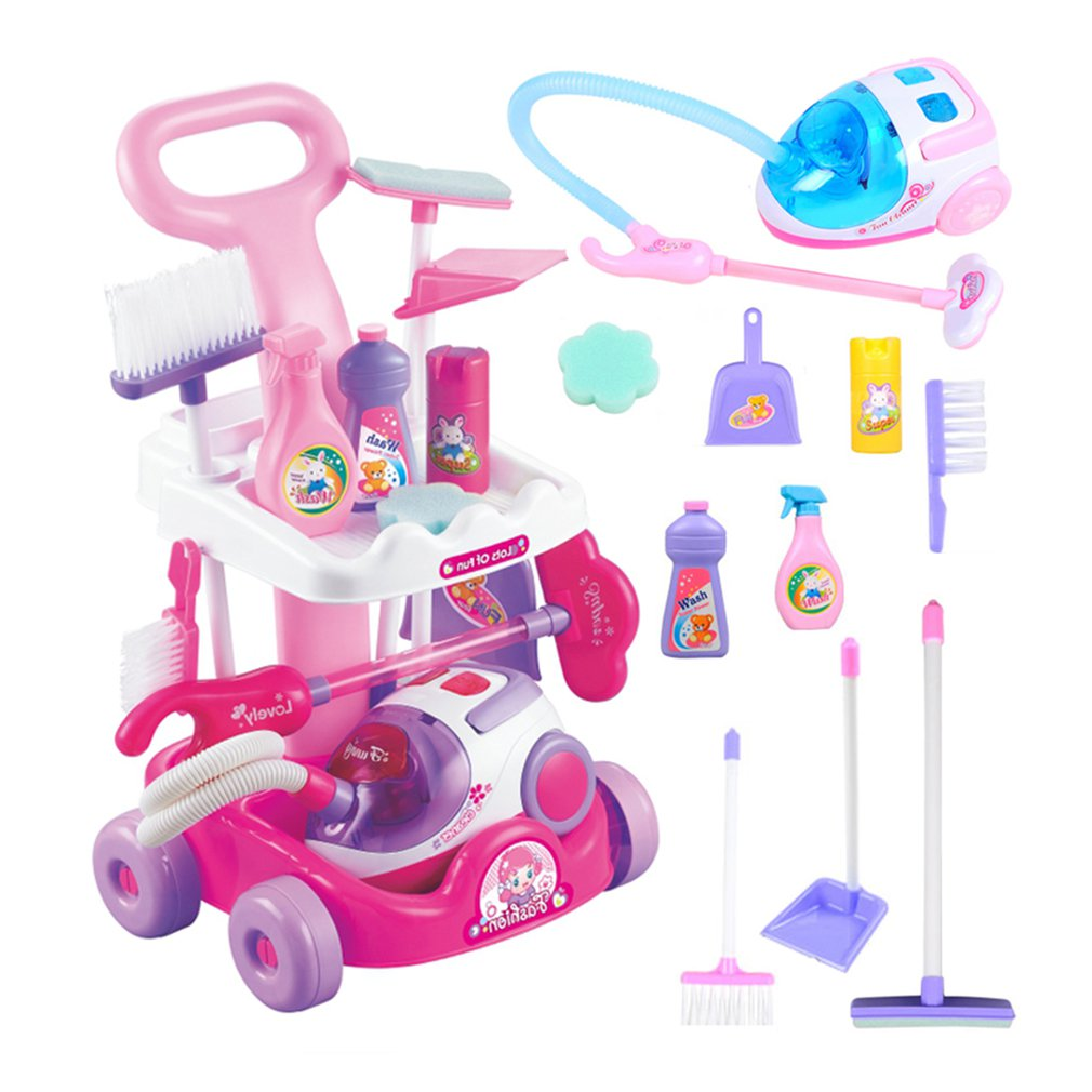 Gardening Trolley Simulation Vacuum Repair Kids Cleaning Set Watering Shovel Prepared Trolley Toys Watering Shovel Trolley Toys