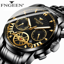 FNGEEN Creative Design Watches Men Luxury Casual Quartz Wristwatch Stainless Steel  Sport Watch Male Clock Reloj Hombre 4560