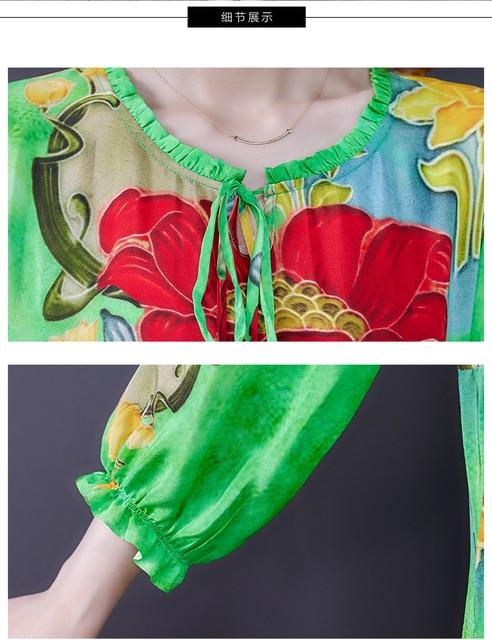 ZUOMAN 5XL Plus Size Loose Mulberry Silk Maxi Sundress 2021 Summer Casual Floral Boho Beach Midi Dresses Elegant Bodycon Party 6