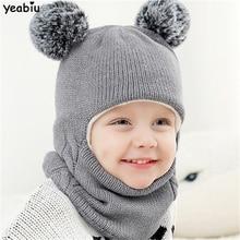 YEABIU милый зимний детский набор из шапки и шарфа, плотная детская шапка, шарфы, костюмы, вязаная детская шапка и шарф для девочек и мальчиков, шапка и шарф