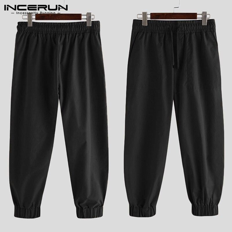 INCERUN 2020 Men Fashion Long Trousers Cargo Pants Men Elastic Waist Pockets Korean Plain Casual Streetwear Joggers Pants S-5XL