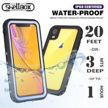 Shellbox IP68 מקרה עמיד למים עבור Apple iPhone 11 פרו מקסימום 6 S 7 8 בתוספת X XS MAX XR ברור עמיד הלם סיליקון מתחת למים כיסוי