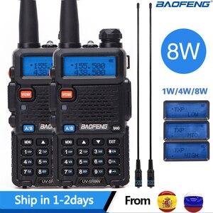 Image 1 - 2 шт. реальная 5 Вт/8 Вт Baofeng UV 5R рация UV 5R мощная Любительская любительская радиостанция CB UV5R двухдиапазонный приемопередатчик 10 км Интерком