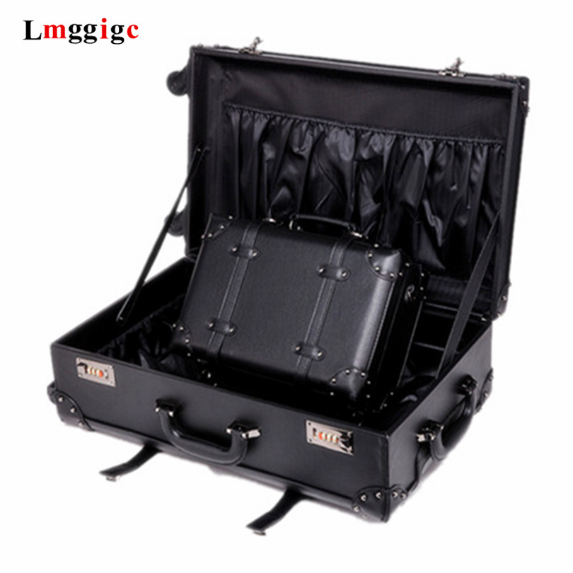 PU Carry-ons Trolley Case,vintage Rolling Luggage,Classic Valise,Universal Wheel Suitcase,High Quality Portable Boarding BOX