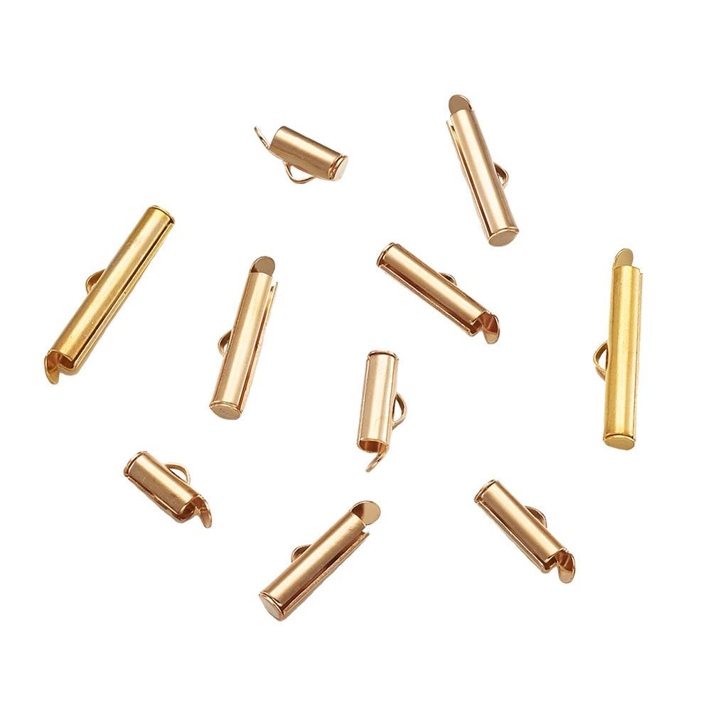 100p 10-40mm  Silver Gold Plated Metal Slide on End Clasps Tube sliders End caps