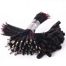 100 sztuk DC 5.5x2.1 wtyk DC męski lub żeński złącze przewodu kablowego do 3528 5050 taśma LED SMD taśma oświetleniowa