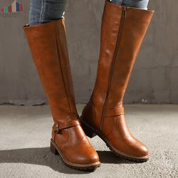2019 Knees Square Heel Boots Women PU Leather Suede Matte Boots Slip on Zapatos De Mujer Solid Riding Knight Boots Winter Shoes 1