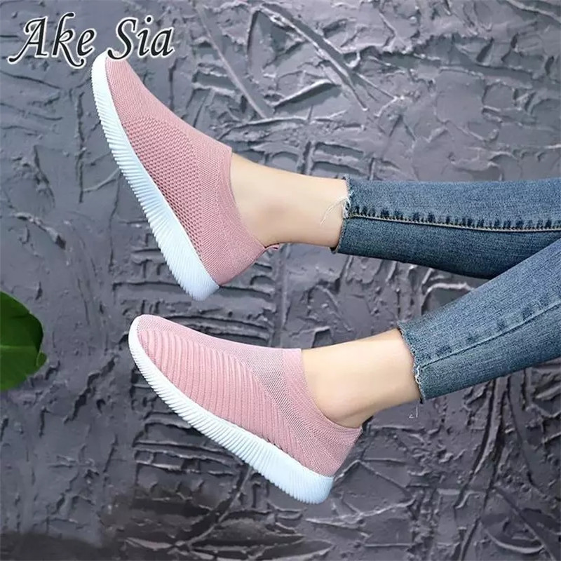 Women's Sneakers Flat Knitting Spring Women Shoes 2019 New Plus Size Female Mesh Vulcanized Ladies Slip On Breathable Casual