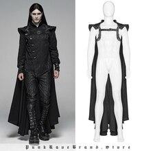 PUNK RAVE Gothic Mens Black Long Cape Punk Warrior Cloak with Silver Chains Chain Fashion Club Halloween Coat Men Cloak