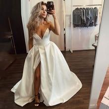 Sexy Deep V Satin Princess Wedding Church Dress Retro Beige Belt Wedding Dress