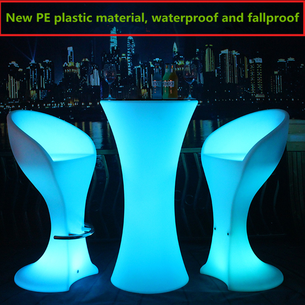 New Led Luminous Cocktail Table Round Shape Plastic Bar Table For Night Club Coffee Shop  Lighting Furniture Bar Table Set