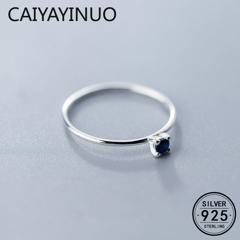 Caiyayinuo Real 925 Sterling Silver Blue Zircon Ring For Fashion Women Fine Jewelry Cute 2019 Minimalist Accessories Gift