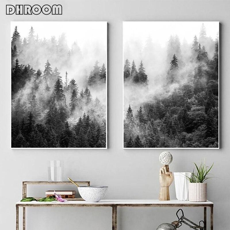 Природа принты леса стены искусства черно белые плакаты с деревом Туманный лес пейзаж холст Картина Настенная картина Декор для гостиной|Рисование и каллиграфия|   | АлиЭкспресс