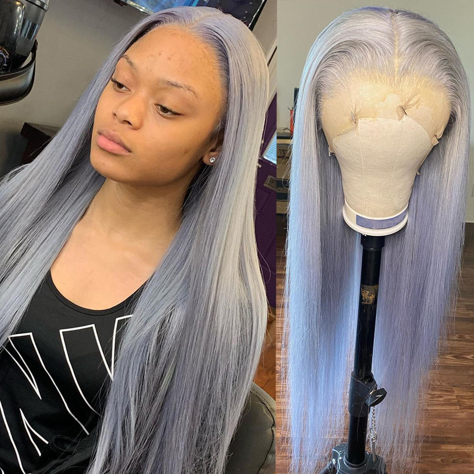 Peruca dianteira do laço cinza perucas de cabelo humano para as mulheres em linha reta cabelo brasileiro bob peruca fechamento do laço com laço transparente pré arrancado