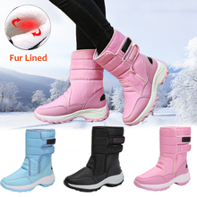 Купить с кэшбэком Women Snow Boots Platform Winter Boots Fur Lined Hook & Loop Mid-Calf Winter Warm Boot Thick Plush Waterproof Non-slip Shoes D25