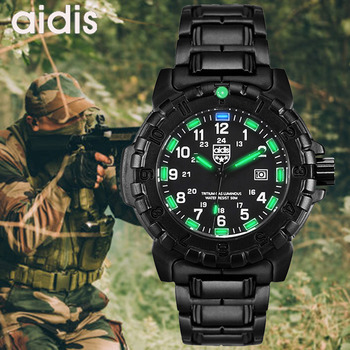 Outdoor Military Army Combat Watches Men Stainless Steel Band Waterproof Quartz Wristwatch Male Sports Watch Relogio Masculino