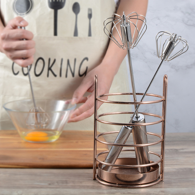Semi-automatic Mixer Egg Beater Manual Self Turning 304 Stainless Steel Whisk Hand Blender Egg Cream Stirring Kitchen Tools 6