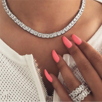 choucong Statement Tennis Necklace Princess Cut AAAAA Cz White Gold Filled choker Party Wedding Necklace for women men jewelry