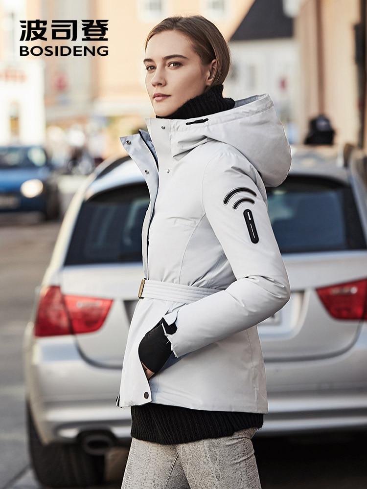 BOSIDENG 2019 nouveau hiver femmes doudoune GoreTex tissu imperméable coupe-vent outwear Gore Wear à capuche mince manteau B90131110