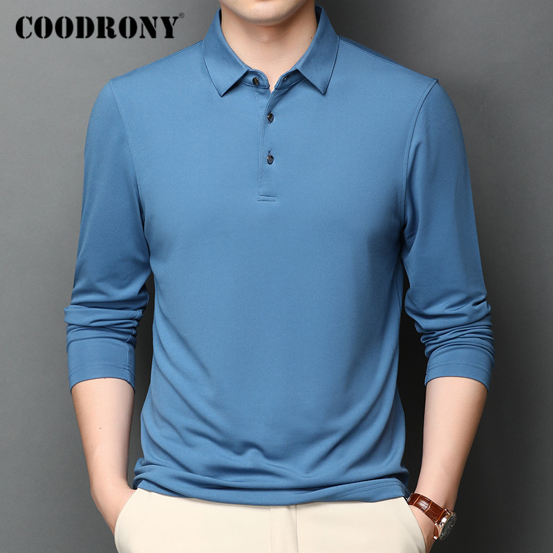 COODRONY Brand T Shirt Men Long Sleeve Business Casual T-Shirt Men Clothes Spring Autumn Top Quality Tee Shirt Homme Tops C5008