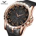 Брендовые Уникальные Кварцевые часы ONOLA, мужские роскошные часы из розового золота и кожи, крутой подарок для мужчин, модные повседневные во...
