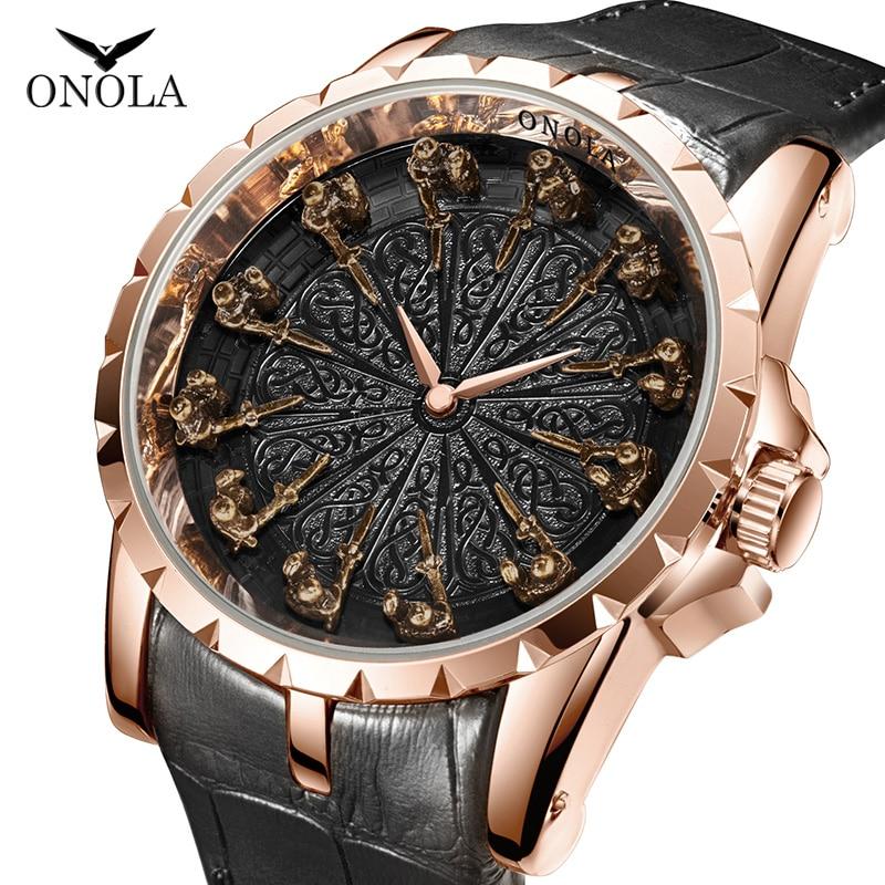 Relógio de Quartzo Presente para o Homem Casual à Prova Onola Marca Único Homem Luxo Ouro Rosa Couro Legal Relógio Moda Dwaterproof Água Masculino