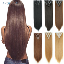 16 clips Long Straight Synthetic Hair Extensions Clips in High Temperature Fiber Black Brown Hairpiece