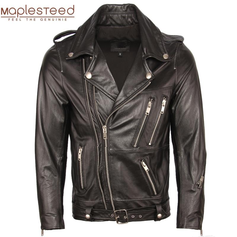 Motorcycle Leather Jacket Men Genuine Leather Jackets 100% Cowhide Sheepskin Moto Biker Leather Jacket Man Skin Coat Autumn M353