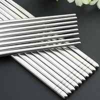 Palillos coreanos para sushi, juego de palillos chinos reutilizables, antideslizantes, de acero inoxidable, 1 par