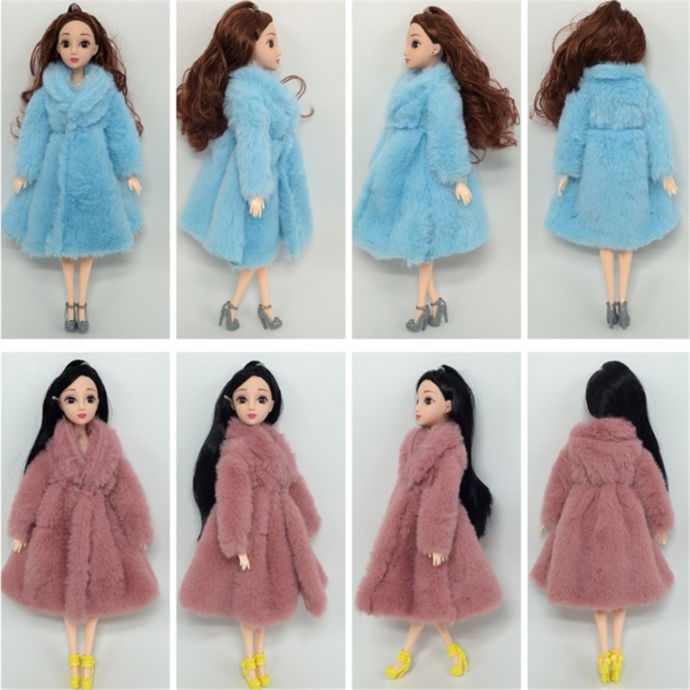 Doll Coat Clothes Fashion Dresse Handmade Grows Outfit Flannel Coat For Barbie Doll Accessories DIY Toy High Quality