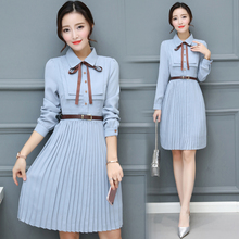 2020 الخريف الشتاء خمر الشيفون فستان ميدي غير رسمي Bodycon قميص مكتب الكورية فساتين أنيقة النساء حفلة طويلة الأكمام Vestido