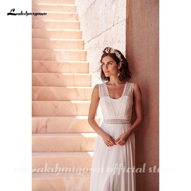 Bohemian Hippie Style Wedding Dresses 2021 Beach A-line Wedding Dress Bridal Gowns Backless White Lace Chiffon Boho white dress 3