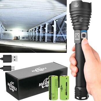 Linterna táctica potente recargable por USB, Linterna LED de alta potencia, XHP90, XHP90.2, 18650, 26550