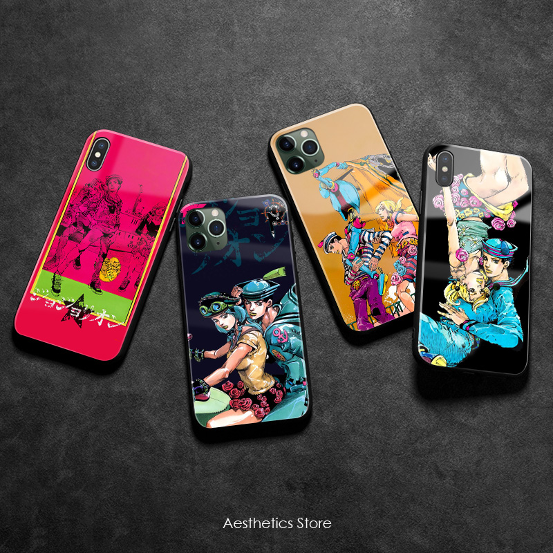JOJO Part 8 JoJolion poster Soft Silicone Glass Phone Case Cover Shell for iPhone 6 6s 7 8 Plus X XR XS 11 Pro Max image