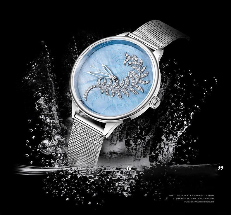 Benyar novo relógio feminino relógio de quartzo