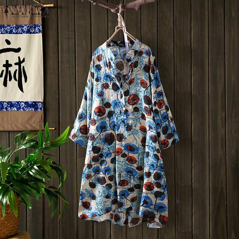 2019 ZANZEA Autumn Vintage Button Down Shirts Women's Printed Blouse 3/4 Sleeve Blusas Female Casual Long Shirts Plus Size Tunic